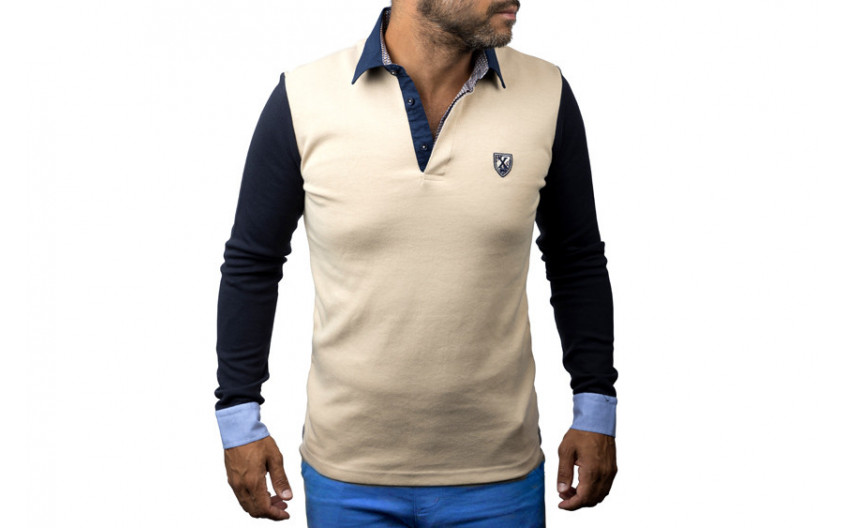 Polo manches longues beige...