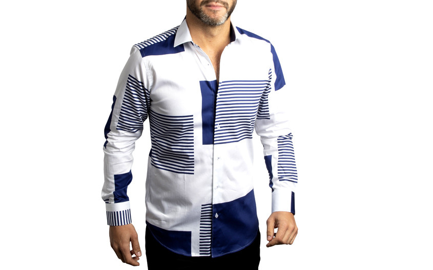 Chemise patchwork blanche...