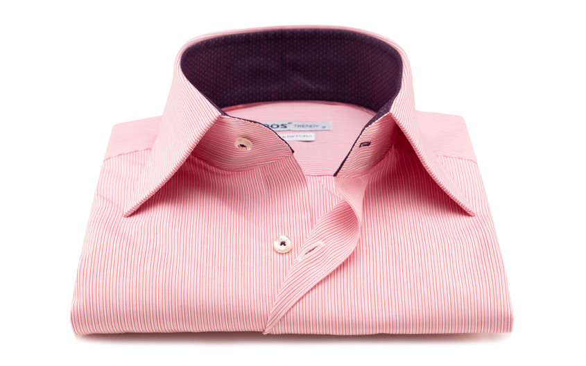 Chemise rose à rayures col...